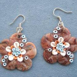 Flowers Earrings Polymer Clay Unique handmade - Fimo - OOAK